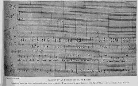 Partitura manoscritta di Haydn, conservata al British Museum